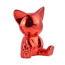 Objet déco statue chat MIGA H.12 cm rouge