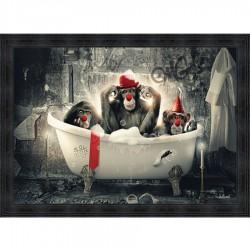 Tableau moderne Sylvain BINET Singes clowns 93x133 cm