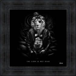 Tableau moderne Sylvain BINET The lion is not dead 53x53 cm