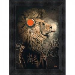 Tableau moderne Sylvain BINET Lion Punk 63x83 cm