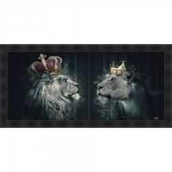 Tableau moderne Sylvain BINET Lions couronnes 76x153 cm