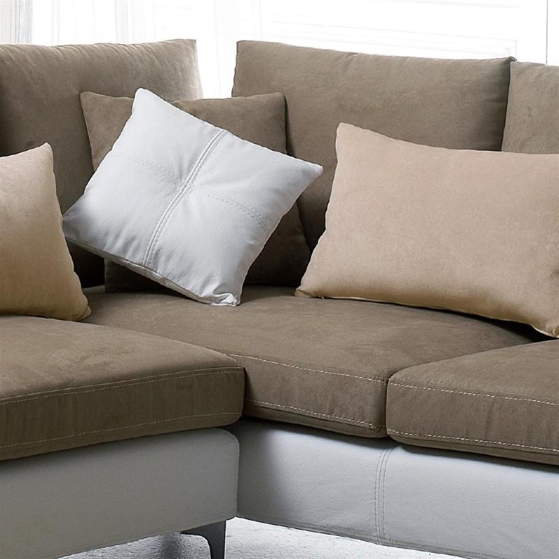 wellington canap d 39 angle bi mati re cuir et tissu. Black Bedroom Furniture Sets. Home Design Ideas