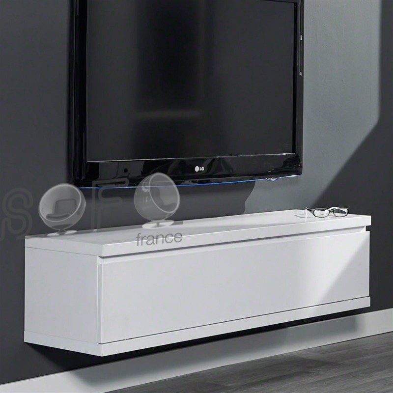 Meuble tv suspendu blanc maison design for Meuble tv suspendu