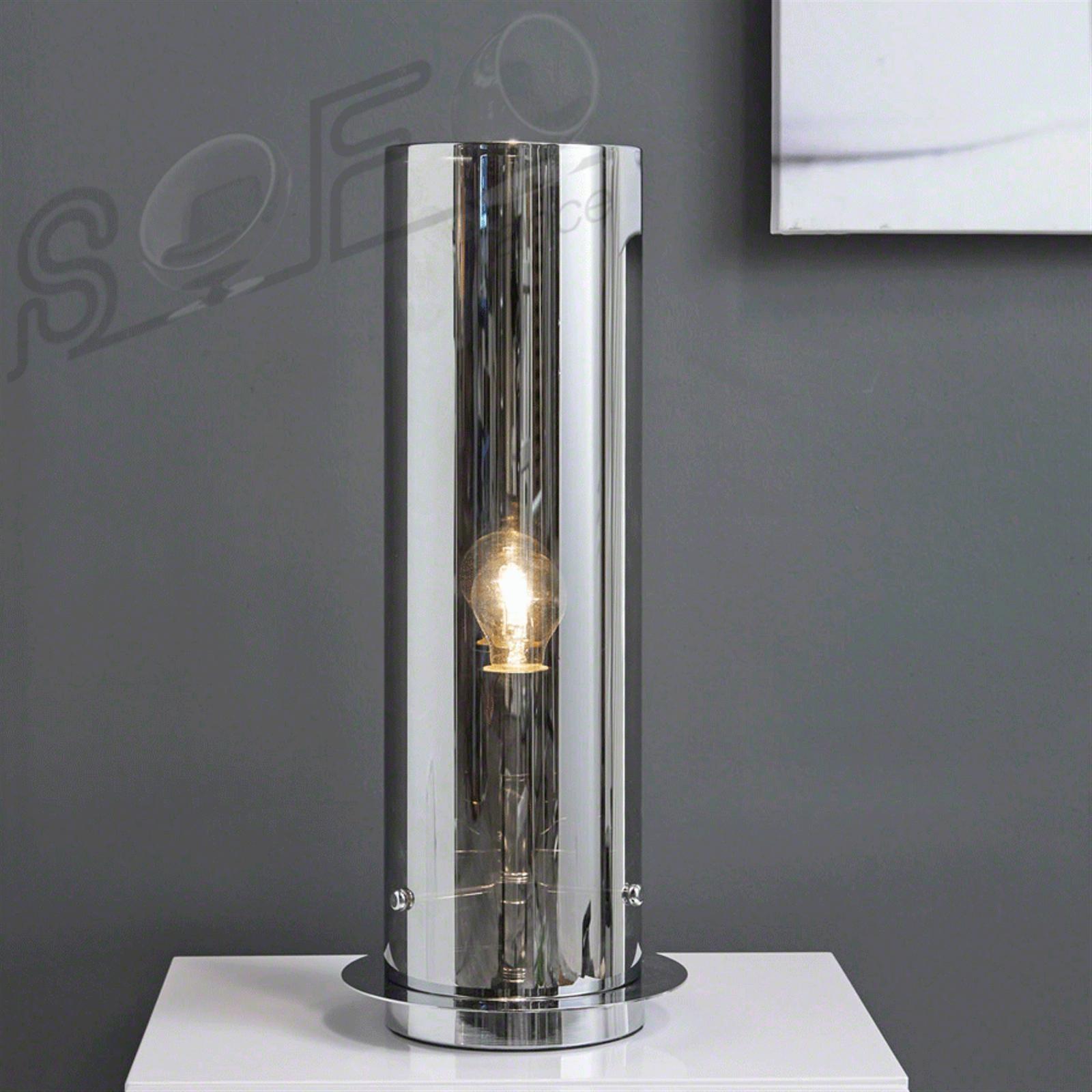 Indi lampe à poser moderne tube en verre chromé toutendirect fr