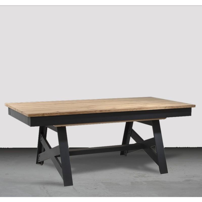 table basse pieds fer croix factory d. Black Bedroom Furniture Sets. Home Design Ideas