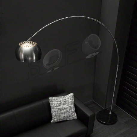 "Lampadaire arc éclairage 1 LED- Nickel mat ""ARCO"""
