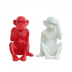 "Set de 2 sculptures ""MONKEY"" H.39cm"