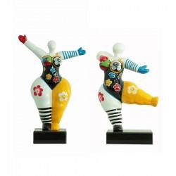 """Set de 2 sculptures femme """"GERMAINE"""" H.34 cm"""
