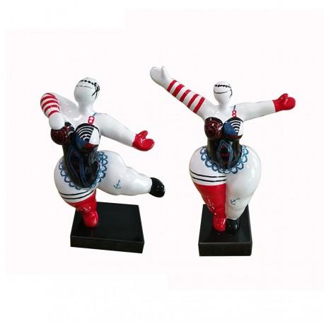 """Set de 2 sculptures femme """"JOSEPHINE"""" H.34 cm"""