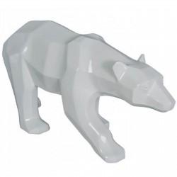 Sculpture moderne ours blanc longueur 60 cm