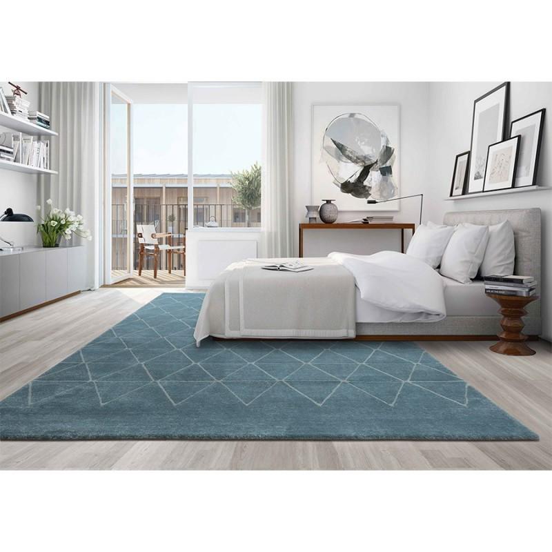 tapis angeles bleu et blanc d f i. Black Bedroom Furniture Sets. Home Design Ideas