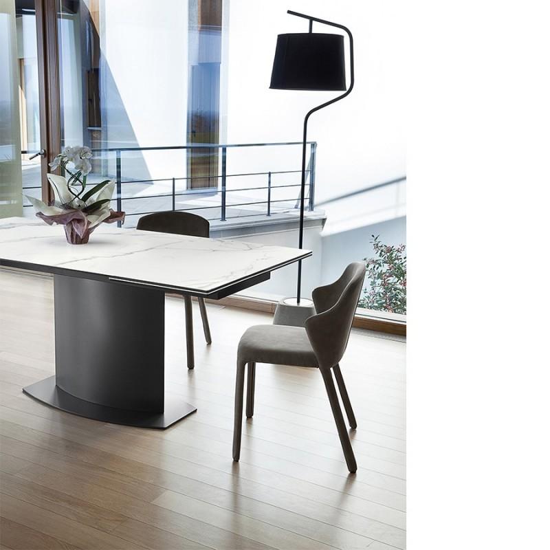 Table extensible plateau c ramique marbre suez - Table plateau ceramique extensible ...