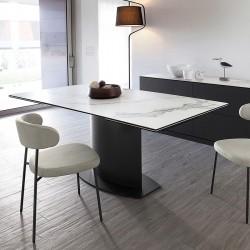"""Table extensible plateau céramique marbre """"SUEZ"""""""
