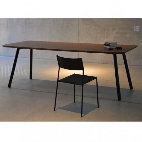 """Table """" TAL"""" plateau plaqué noyer"""