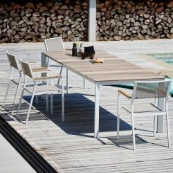 "Table extensible ""ISA"" blanche et bois"