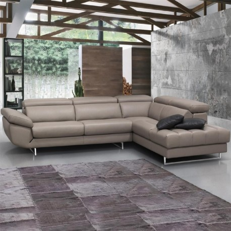 GRAZIA : salon d'angle panoramique cuir fabrication italienne