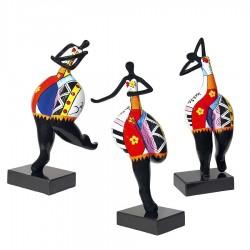 """Set de 3 sculptures femme """"ROSALIE"""" H.50 cm"""