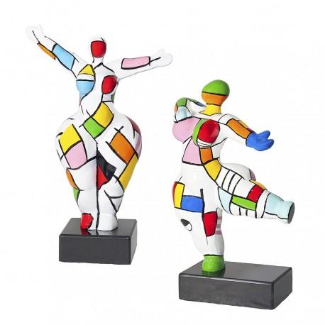 """Set de 2 sculptures femme """"COLETTE"""" H.34 cm"""