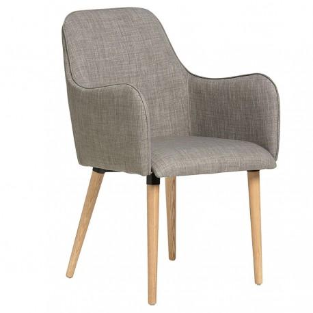 ALBAN chaise avec accoudoirs bois naturel, revêtement tissu