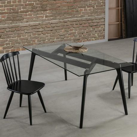 """Table rectangulaire """"ANNA"""" noire"""
