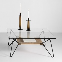 """Table basse """"CLEMENCE"""" pieds noirs"""