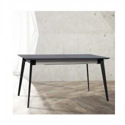 """Table avec allonge 90 cm et plateau en céralite """"MILANO"""" L160 cm"""