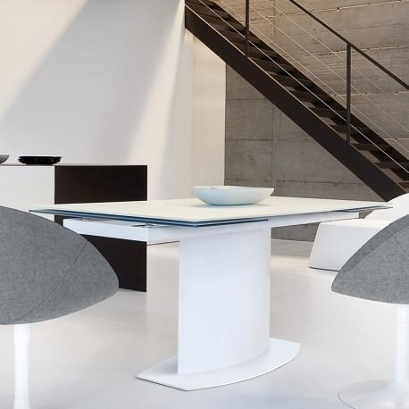 """Table rectangulaire à rallonges acier/verre trempé blanc """"SUEZ"""""""