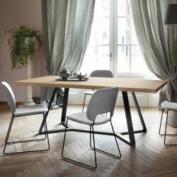"""Table rectangulaire """"ARCHY"""" largeur 200 cm plateau chêne"""