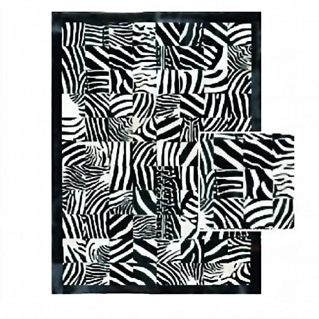 """Tapis carrés imitation """"ZEBRE"""" avec contour 160x220 cm"""