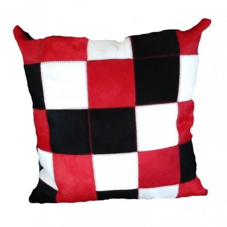 """Coussin """"PATCHWORK"""" rouge noir blanc"""