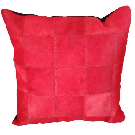 """Coussin """"PATCHWORK"""" rouge"""