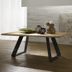 """Table avec plateau en bois """"VERONE"""" pieds anthracite"""