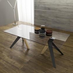 """Table avec plateau en verre """"FLORENCE"""" pieds anthracite et natur"""