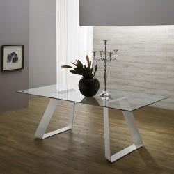 """Table avec plateau en verre """"VERONE"""" pieds blancs"""