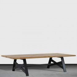 Table basse pieds fer croix « FACTORY » largeur 120 cm