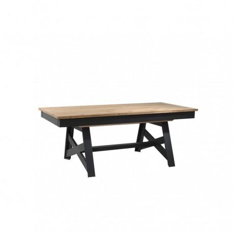 Table pieds croix 2 allonges portefeuille « FACTORY » largeur 160 cm