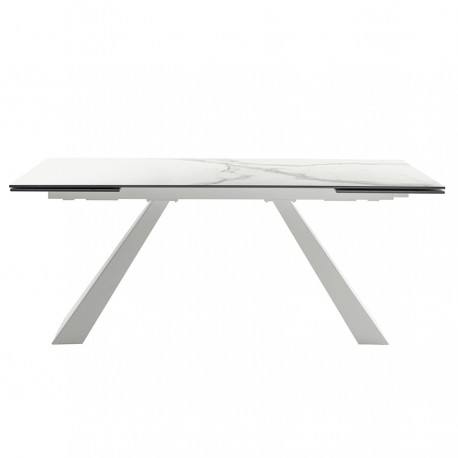 Table extensible « ALICE » plateau céramique effet marbre blanc calacatta
