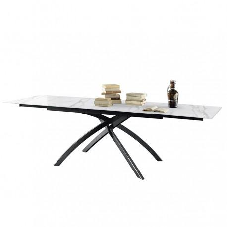 Table extensible « CLARISSE » céramique marbre blanc calacatta