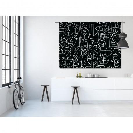 Tenture murale design en coton 190x145cm Doodles