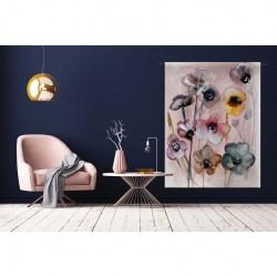 Tenture murale design en coton 145x190cm Flowers in Soft Hues
