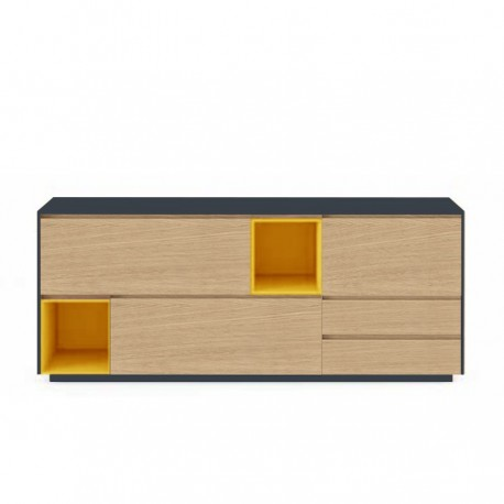 Buffet 3 portes abattantes 2 niches 2 tiroirs « SOLENE »