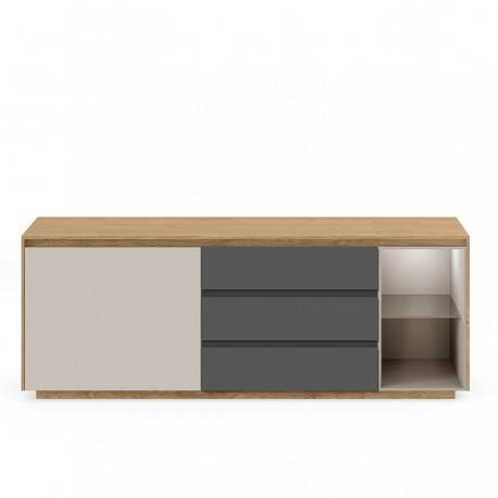 Enfilade 1 porte 3 tiroirs et 1 niche « SOLENE » chêne américain, laque Sahara et Ardoise