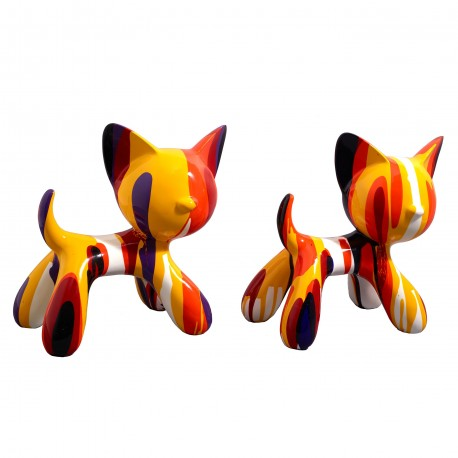 "Lot de 2 sculptures chats ""MIKADO"" H.27 cm"