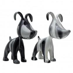 "Lot de 2 sculptures chiens ""MILKA"" H.38 cm"