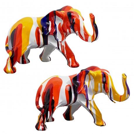 "Lot de 2 sculptures éléphants ""MOKA"" H.24 cm"