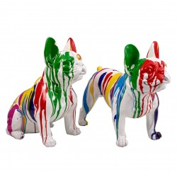 "Lot de 2 sculptures bulldogs ""OLAF"" H.40 cm"