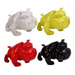 """Lot de 4 sculptures bulldogs """"OTIS"""" H.13 cm"""