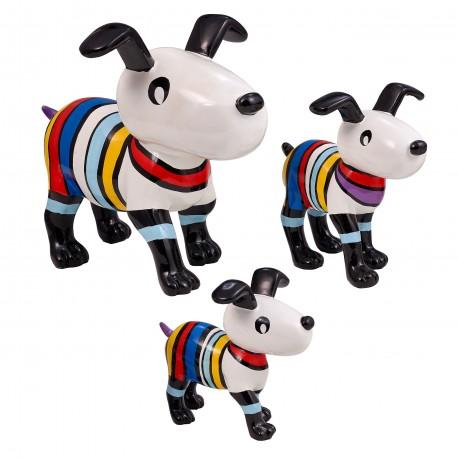 """Lot de 3 sculptures chiens """"OMER"""" H.25/17/14 cm"""