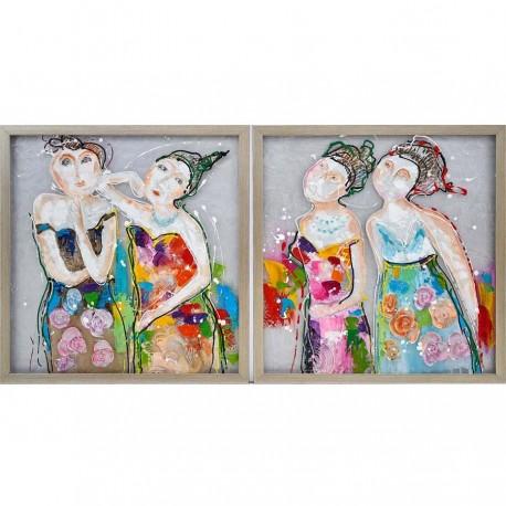 """Set de 2 tableaux """"DEMOISELLES"""" 60x60 cm"""
