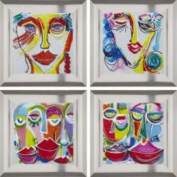 """Set de 4 tableaux """"GLINDA"""" 45x45 cm"""